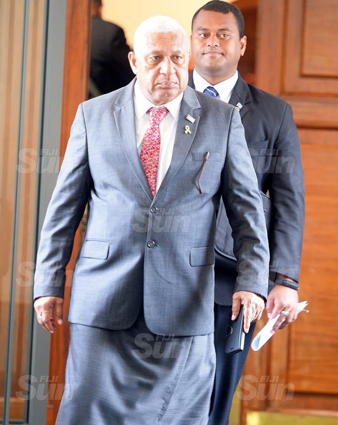 Prime Minister Voreqe Bainimarama outside Parliament 2, 2020. Photo: Ronald Kumar.