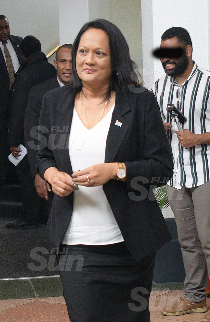Minister for Education Rosy Akbar outside Parliament 2, 2020. Photo: Ronald Kumar.