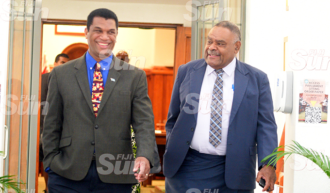 Opposition Members of Parliament Aseri Radrodro (left) and Mikaele Lewere outside Parliament on September 1, 2020. Photo: Ronald Kumar.