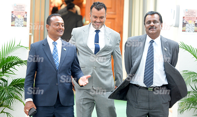 Assistant Minister Vijay Nath, Government Whip Alvick Maharaj and Minister for Youth and Sports Praveen Bala  outside Parliament on September 1, 2020. Photo: Ronald Kumar.