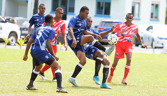 Mesake Nasilasila of PSRU (Police Special Response Unit) takes bicycle kick against Eastern Police side 0 Police IDC 2020 at Nasova ground on September 16, 2020. Photo: Ronald Kumar.