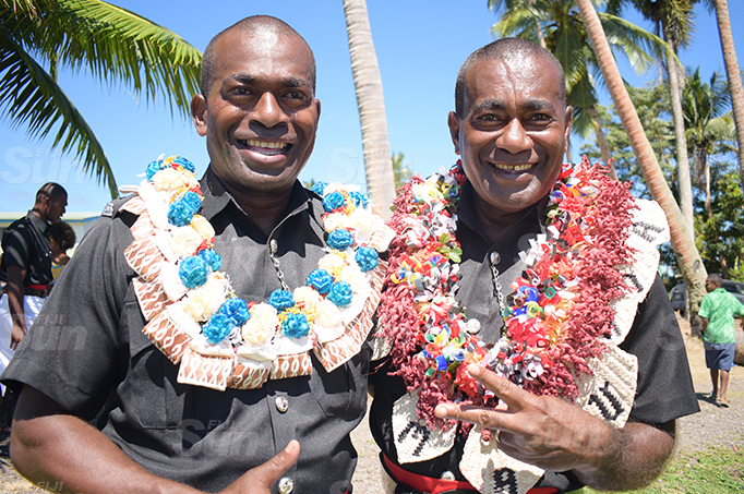 Brothers Iliasa Tuimavana (left) and Sakiusa Tuinamavana following the Police basic recruit passout parade at Nasova ground on September 11, 2020. Photo: Ronald Kumar.