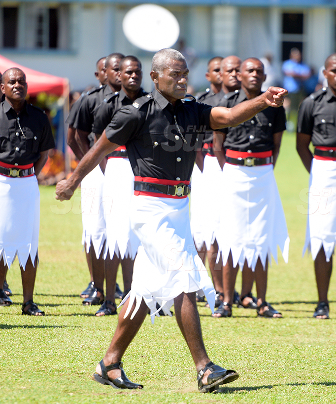 Police basic recruit passout parade baton of honor winner, Jonatani Ratu at Police Nasova ground on September 11, 2020. Photo: Ronald Kumar.