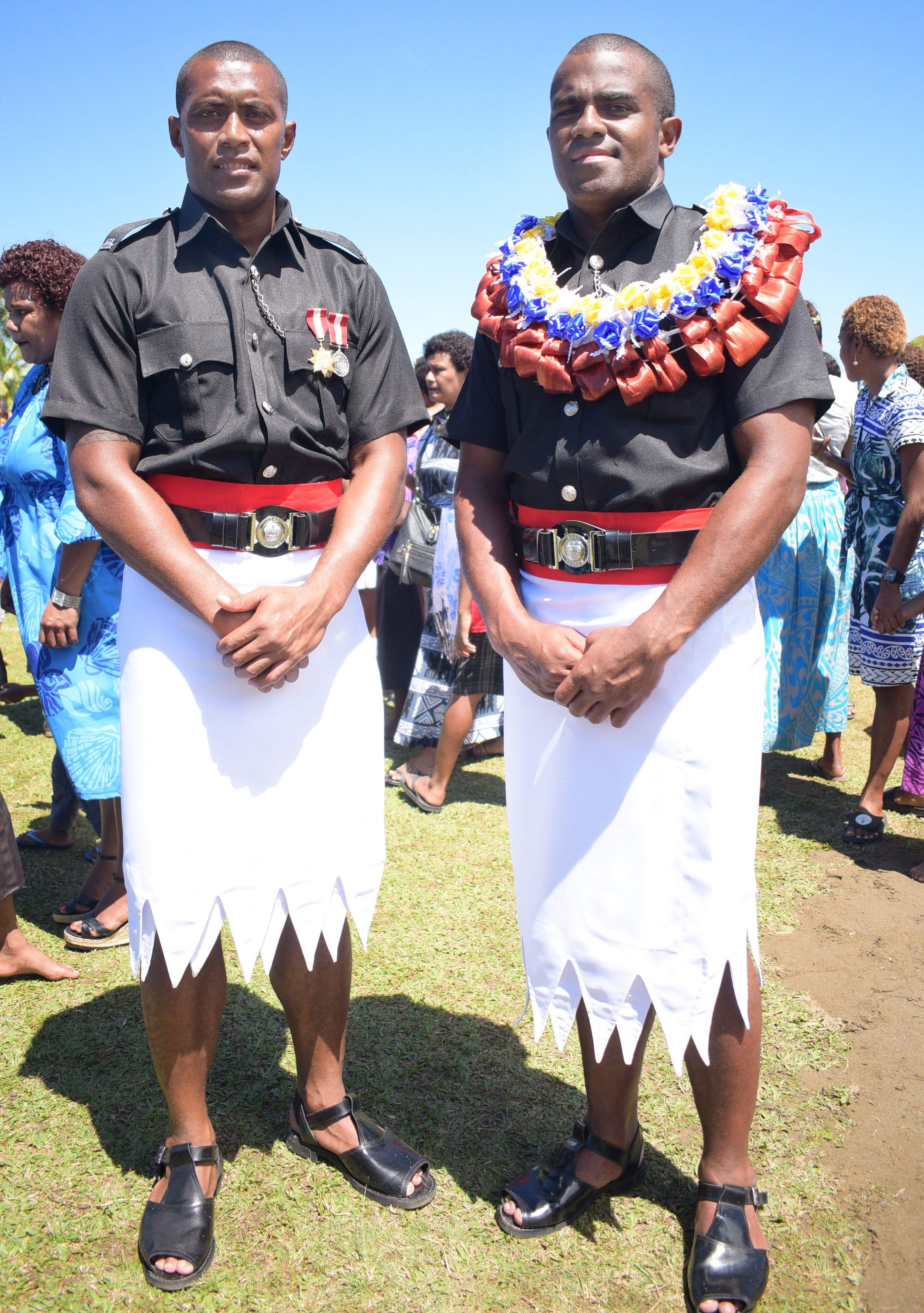 Former National 7's reps, Samisoni Viriviri (left) and Kitione Taliga following their Police basic recruit pass out parade at Nasova ground on September 11, 2020. Photo: Ronald Kumar.