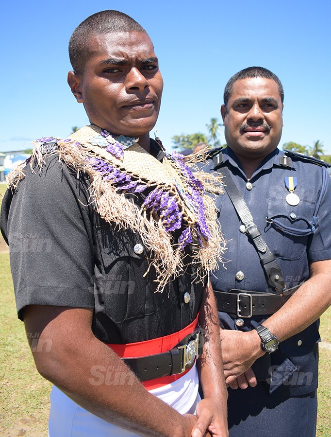 Like Father, Like Son...SSP Aporosa Lutunauga (right) wiith son, Timoci Lutunauga after the Police basic recruit passout parade at Nasova ground on September 11, 2020. Photo: Ronald Kumar.