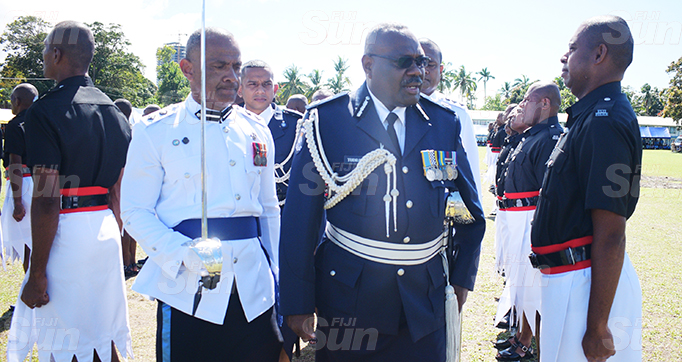 Acting Police Commissioner Rusiate Tudravu while inspecting the basic recruit passout parade at Police Nasova ground on September 11, 2020. Photo: Ronald Kumar.