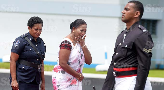 An emotional Saroj Naidu (middle) could not hold back her tears as she recalls the life of her late daughter Woman Constable Shivangi Sheetal Naidu during the Police Remembrance Day on September 29, 2020. Photo: Ronald Kumar