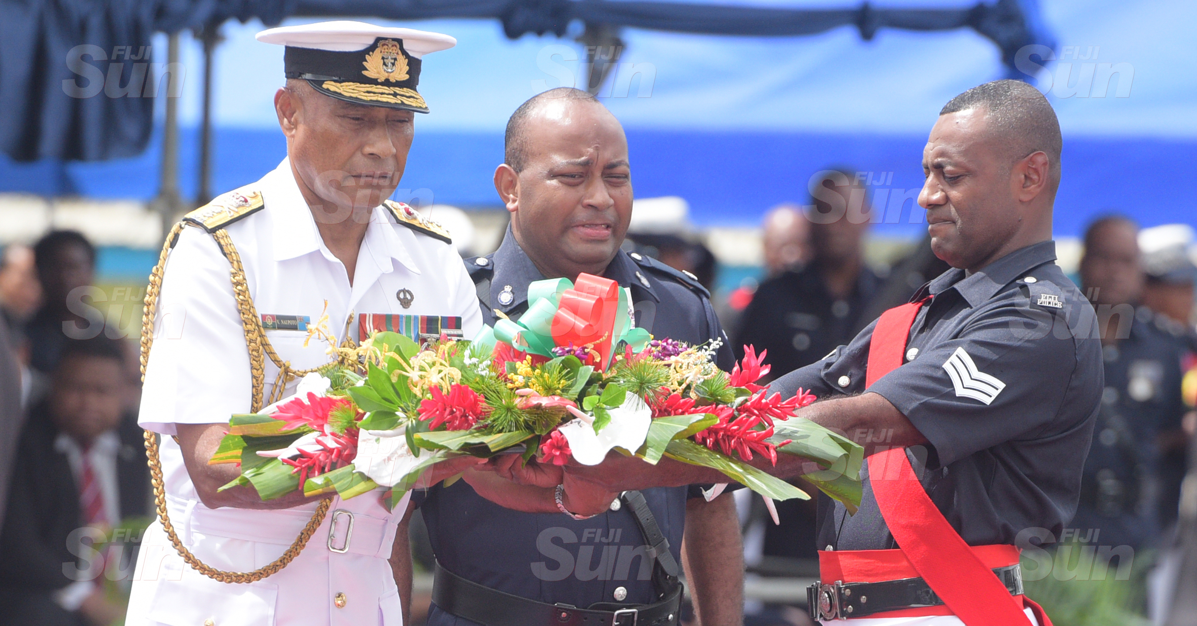 RFMF Commander, Rear Admiral Viliame Naupoto (left)  during wreath laying ceremony for Police Remembrance Day at Police Special Response Unit on September 29, 2020. Photo: Ronald Kumar.