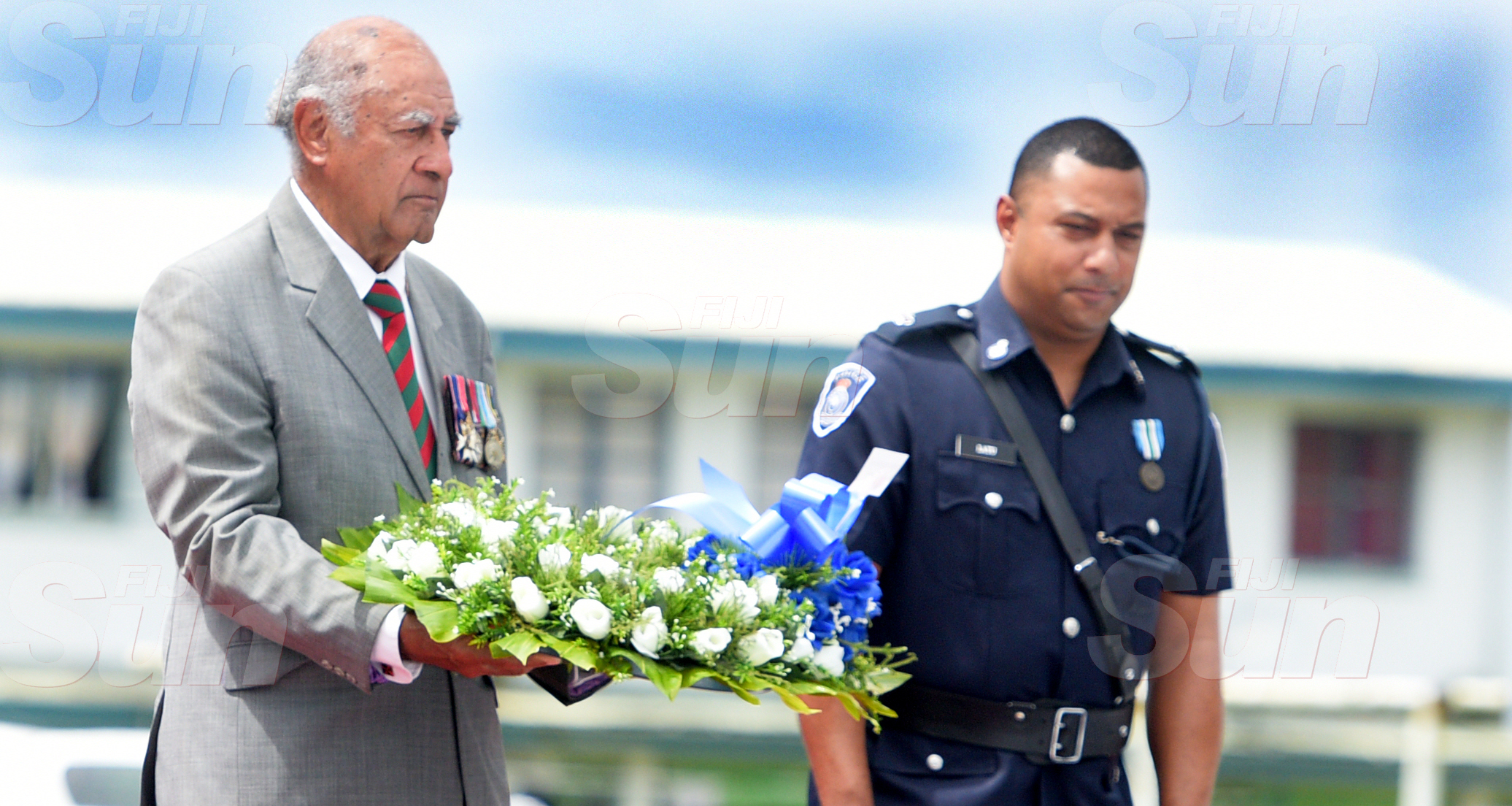 Police Remembrance Day ceremony Chuief Guest, Speaker  of Parliament Ratu Epeli Nailatikau during wreath laying    at Police Special Response Unit on September 29, 2020. Photo: Ronald Kumar.