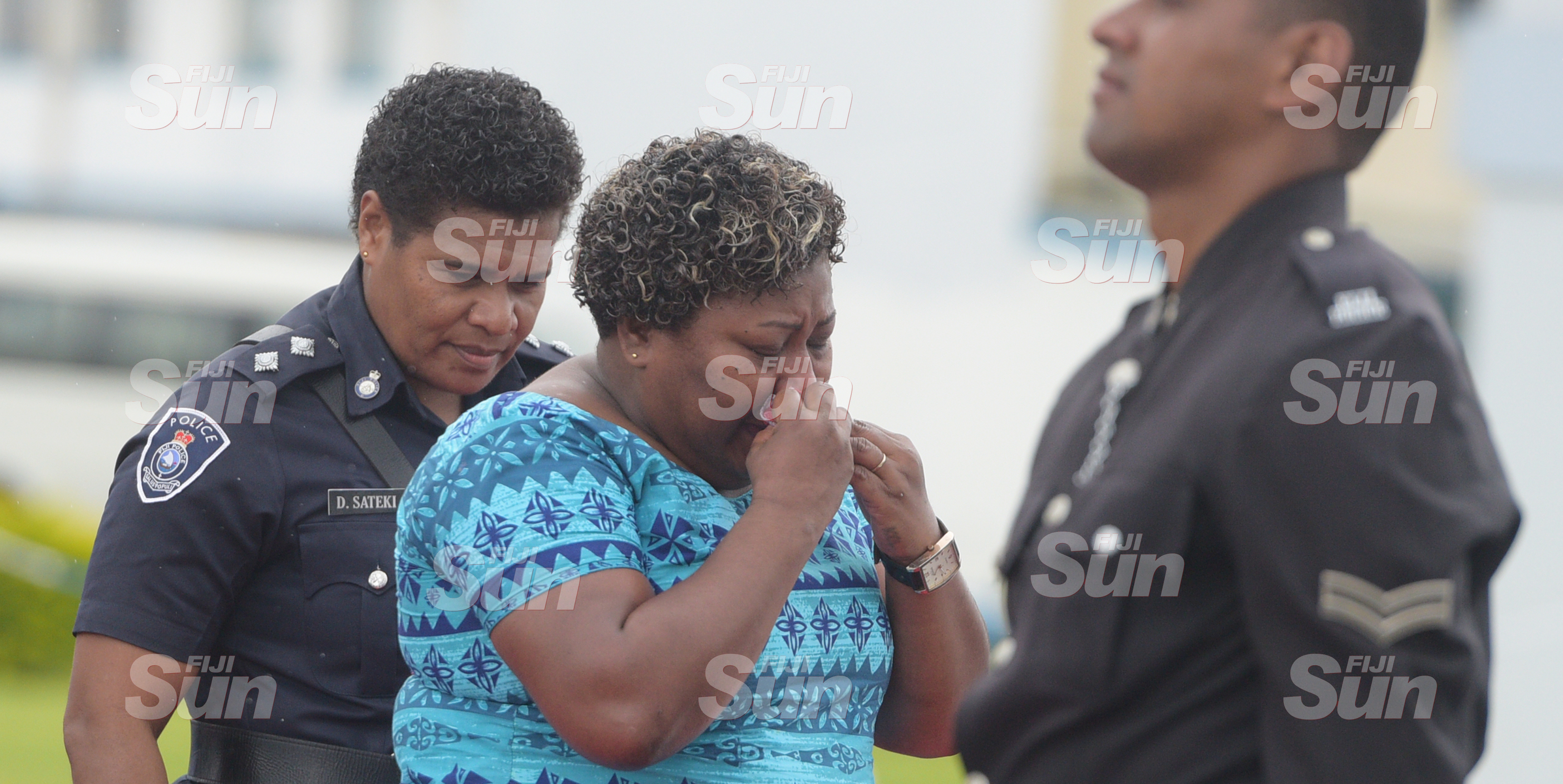 An emotional Kolaia Diaga (middle) could hold back her tears as she remembers her aunt, Women Constable, Maraia Tinairakita during Police Remembrance Day at Police Special Response Unit on September 29, 2020. Photo: Ronald Kumar.