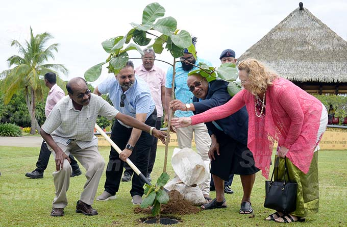 SuvaLami Special Administrator (from left) Vimal Kumar, Suva Retailers Association President Vinay Kumar, SuvaLami Special Administrator Chair, Isikeli Tikoduadua  and Special Administrator Kerry Mara while planting trees as part of Fiji Day celebration at My Suva Park on September 30, 2020. Photo: Ronald Kumar.