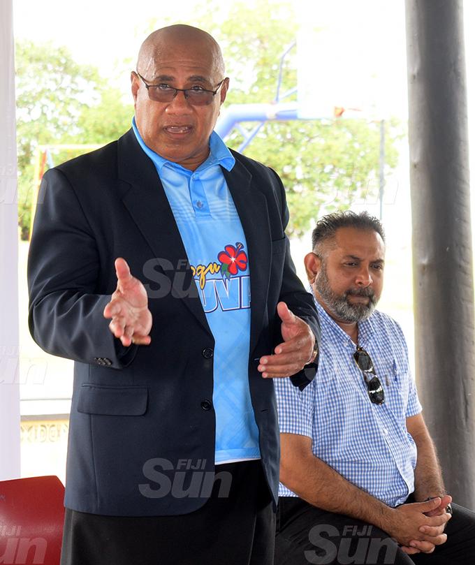 SuvaLami Special Administrator Chair Isikeli Tikoduadua (left) and Suva Retailers Association President Vinay Kumar at My Suva Park on September 30, 2020. Photo: Ronald Kumar.