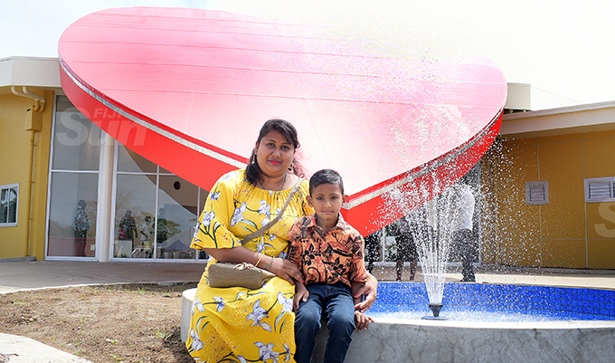 Pritika Gautam with her 5 year-old sun Darsh Prasad during the Sai Sanjeevani medical centre 4th year anniversary on September 19, 2020. Photo: Ronald Kumar.