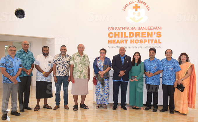 From left- Ministry of Health acting PS, Dr. James Fong, RFMF Commander Viliame Naupoto, Minister of Trade Faiyaz Koya, Speaker of Parliament Ratu Epeli Nailatikau, Marry Bainimarama, Prime Minister Voreqe Bainimarama, Dr. Krupali Tappoo, Summet Tappoo, Mahendra Tappoo and Maya Tappoo during the Sai Sanjeevani medical centre 4th year anniversary on September 19, 2020. Photo: Ronald Kumar.