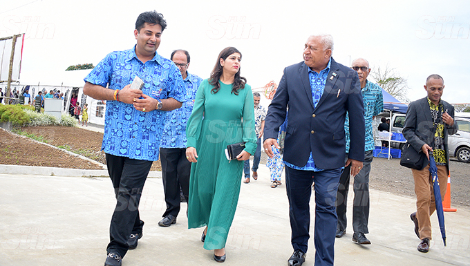 From left- Summet Tappoo,  Dr. Krupali Tappoo with   Prime Minister Voreqe Bainimarama during Sai Sanjeevani medical centre 4th year anniversary on September 19, 2020. Photo: Ronald Kumar.