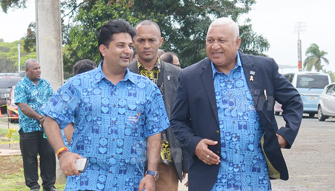 Summet Tappoo (left) and Prime Minister Voreqe Bainimarama during Sai Sanjeevani medical centre 4th year anniversary on September 19, 2020. Photo: Ronald Kumar.