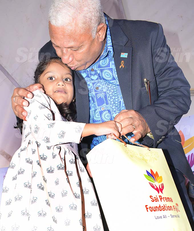 Prime Minister Voreqe Bainimarama with Rahima Imrana during Sai Sanjeevani medical centre 4th year anniversary on September 19, 2020. Photo: Ronald Kumar.