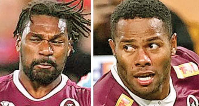 Filipo Daugunu (right) and Moses Sorovi. (Queensland Reds).