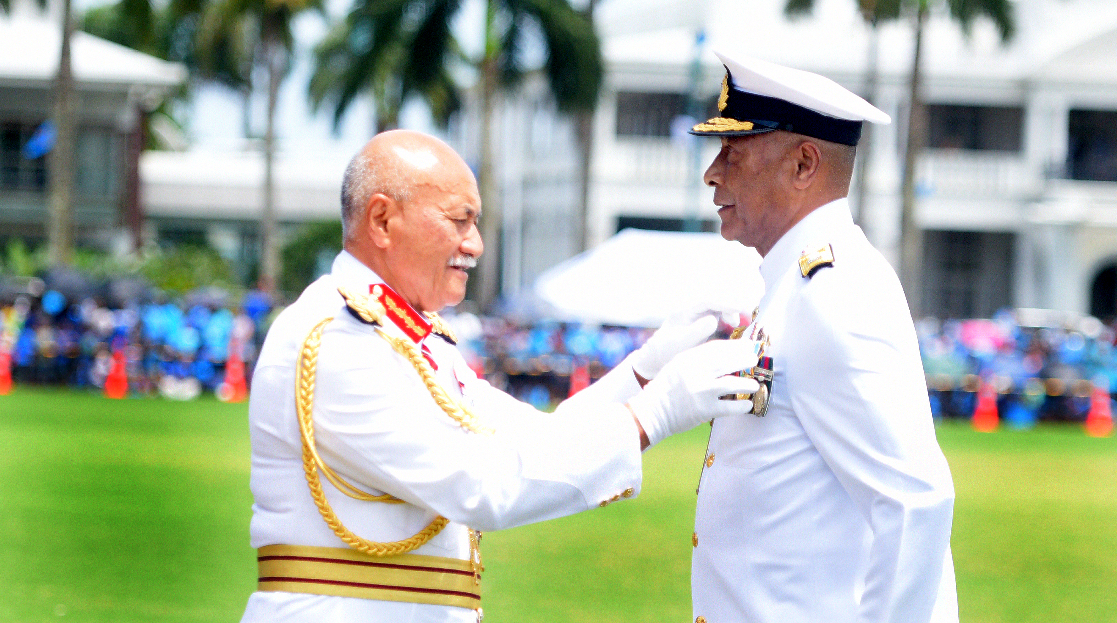 President Jioji Konrote awards Army Commander, Rear Admiral Viliame Naupoto with the 50th anniversary of Independence commemorative medal during Fiji Day Parade at Albert Park on October 7, 2020. Photo: Ronald Kumar.