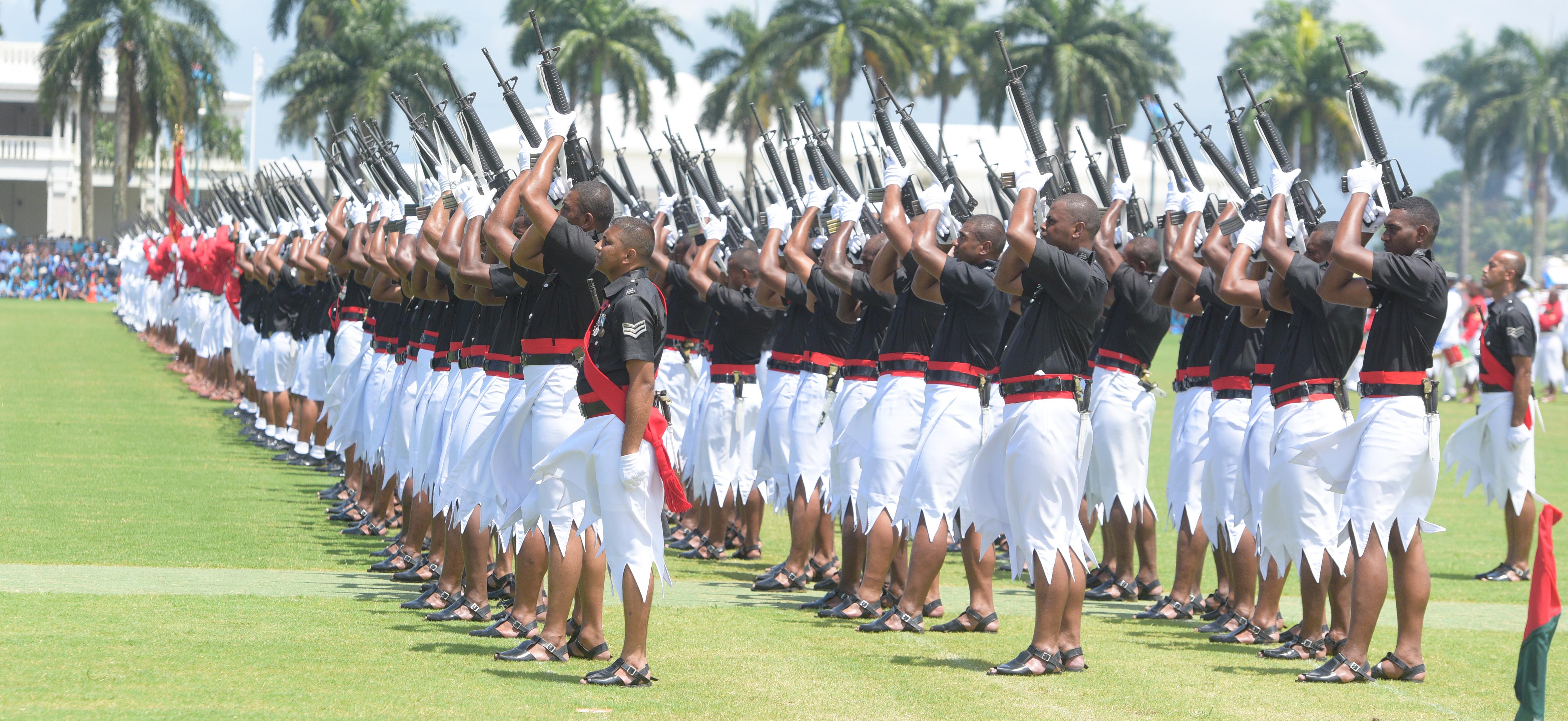 RFMF, Police and Navy personnel accorded 21 gun salutes during The 50th Independence commemorative Fiji Day Parade at Albert Park on October 7, 2020. Photo: Ronald Kumar.