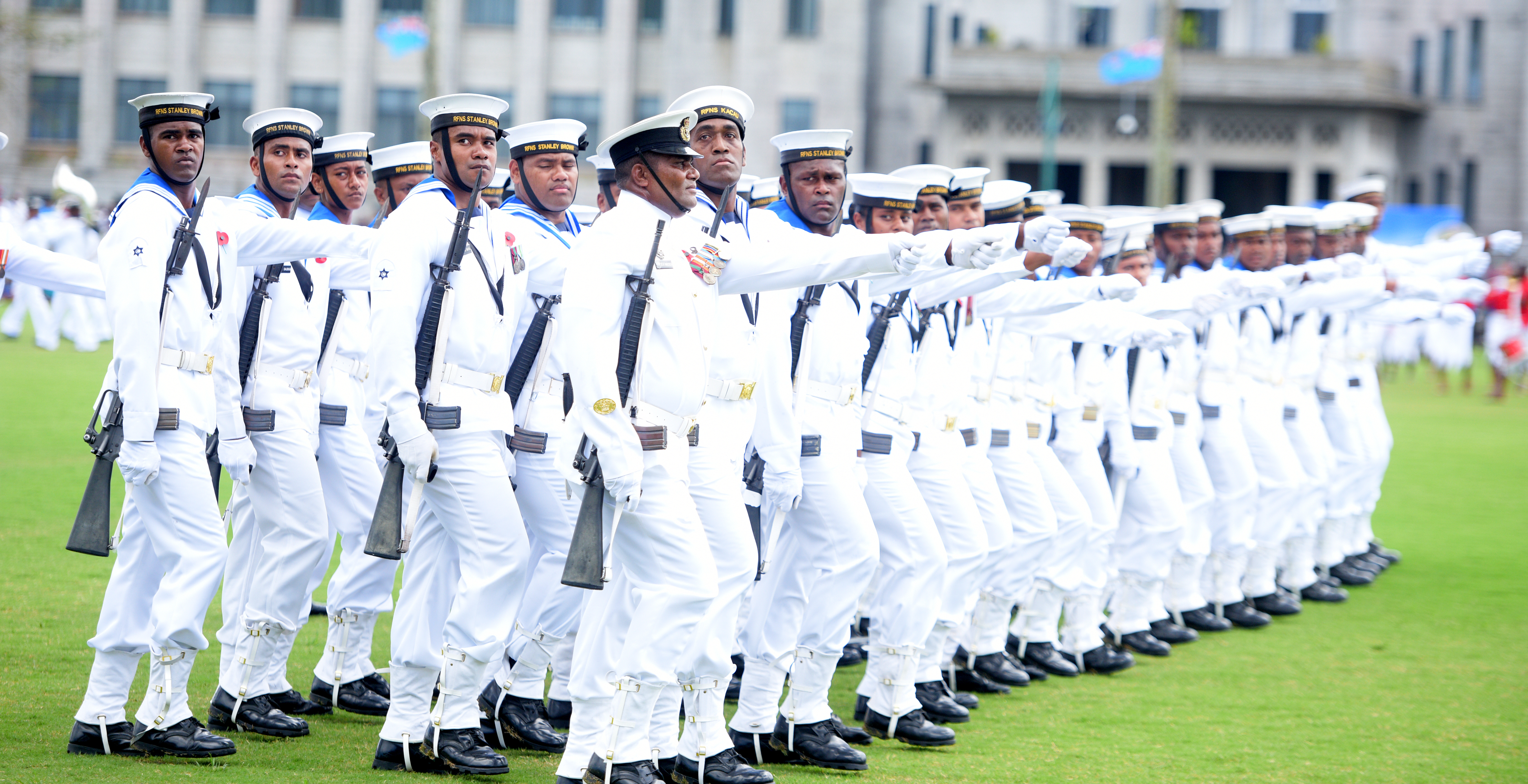 Members of RFMF Naval division during The 50th Independence commemorative Fiji Day Parade at Albert Park on October 7, 2020. Photo: Ronald Kumar.