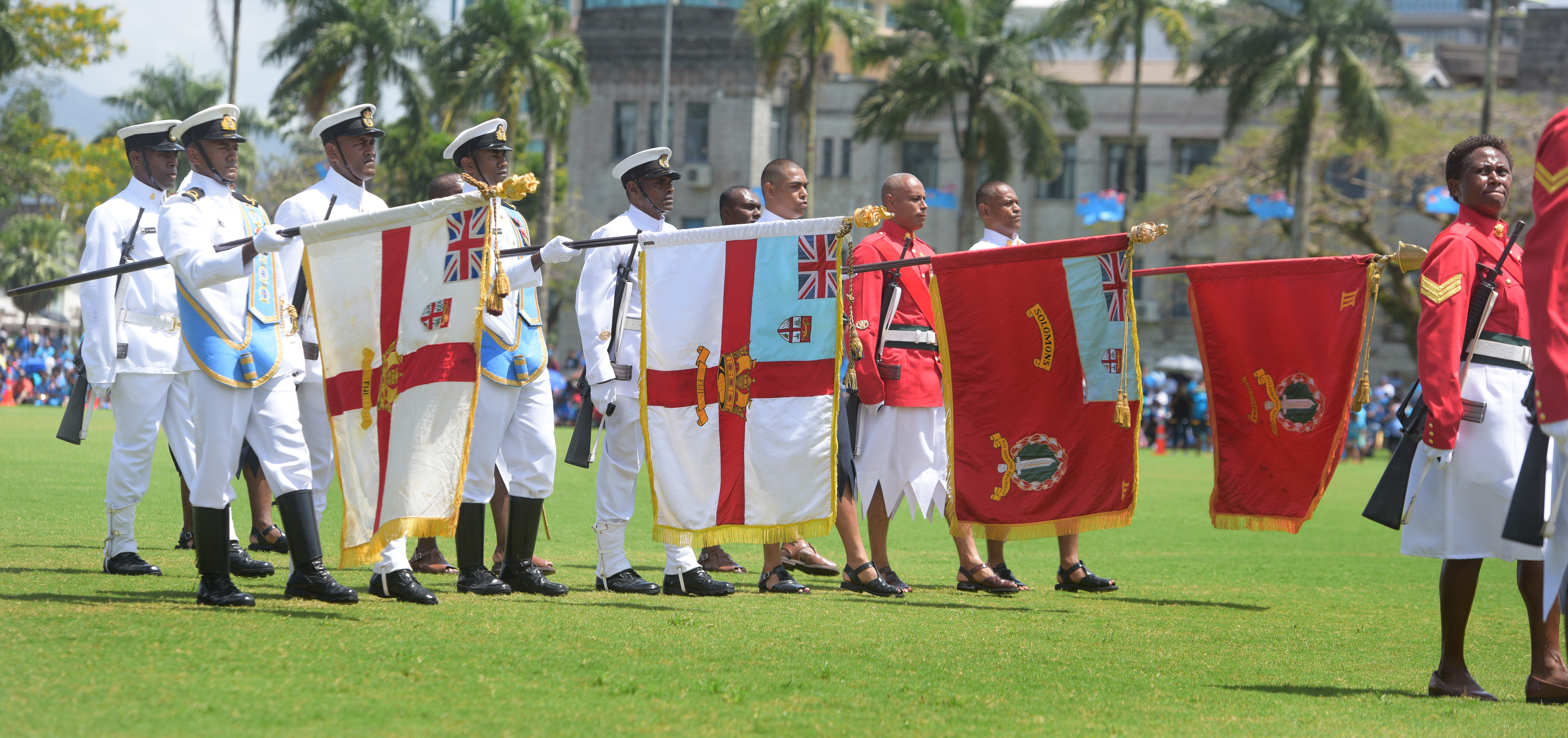 March pass of the of the 50th Independence commemorative Fiji Day Parade Colours at Albert Park on October 7, 2020. Photo: Ronald Kumar.