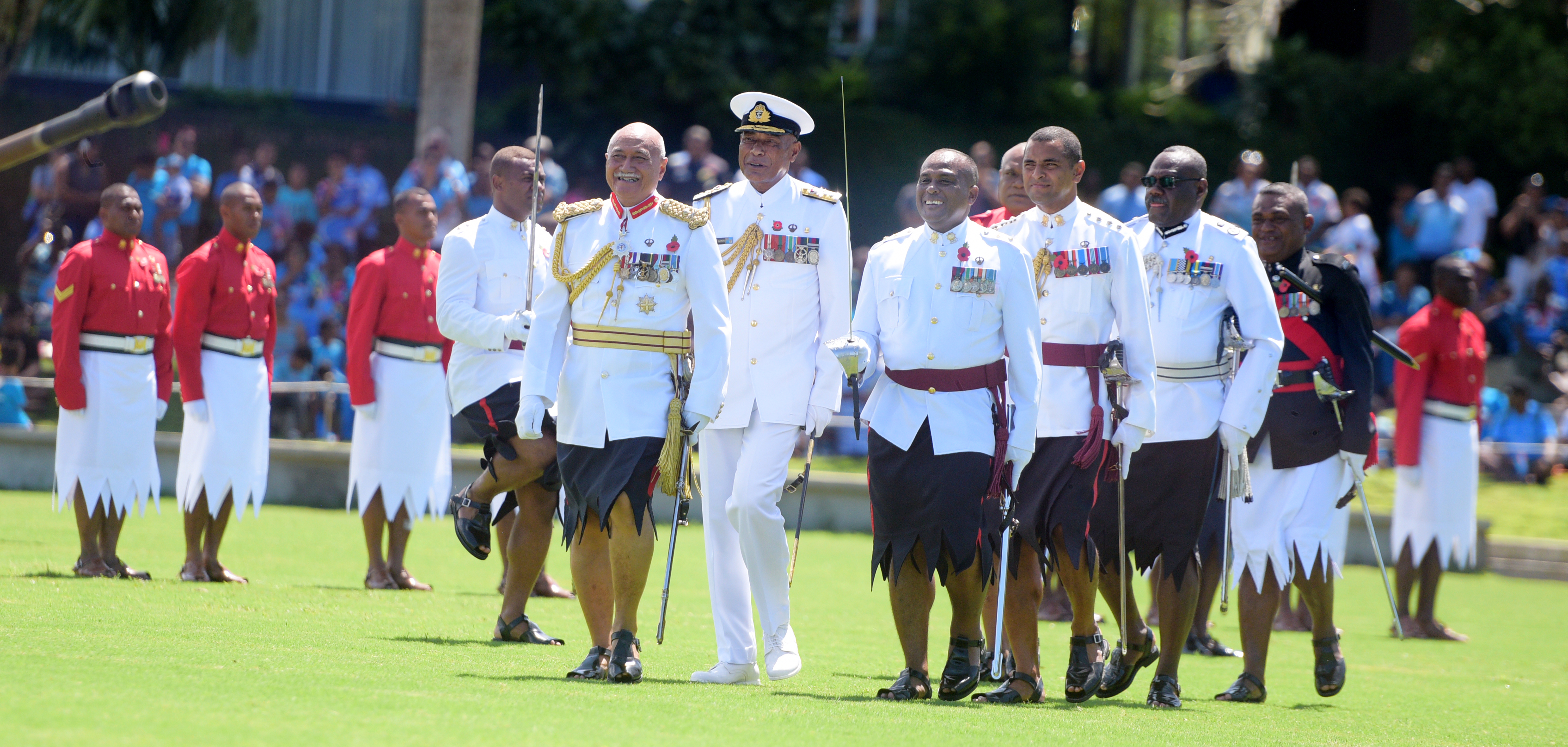 President and Commander-in-Chief, Jioji Konrote followed by RFMF Commander, Rear Admiral Viliame Naupoto during the 50th anniversary of Independence commemorative medal during Fiji Day Parade at Albert Park on October 7, 2020. Photo: Ronald Kumar.