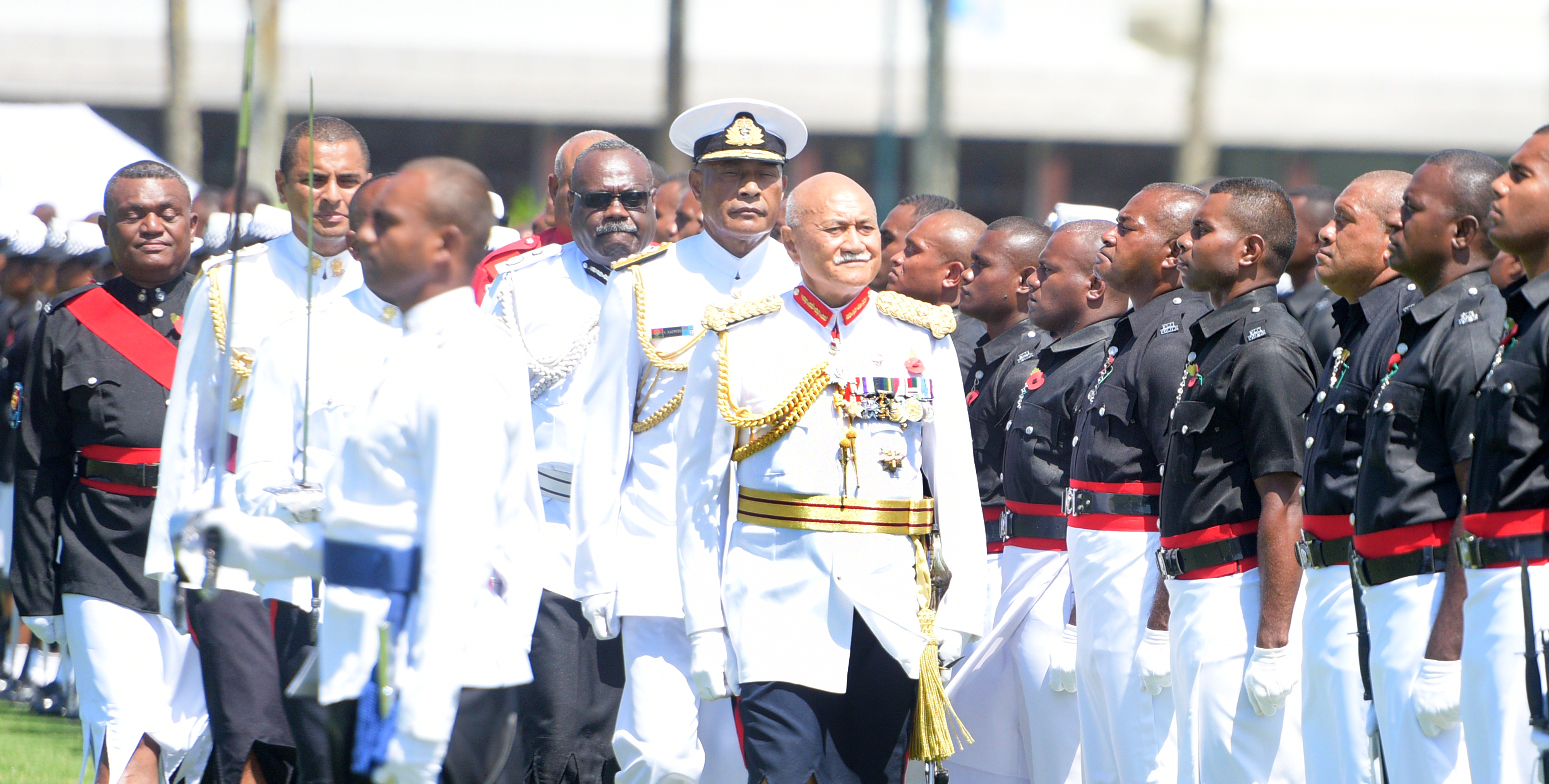 President and Commander-in-Chief, Jioji Konrote followed by RFMF Commander, Rear Admiral Viliame Naupoto while inspecting the 50th anniversary of Independence commemorative medal during Fiji Day Parade at Albert Park on October 7, 2020. Photo: Ronald Kumar.