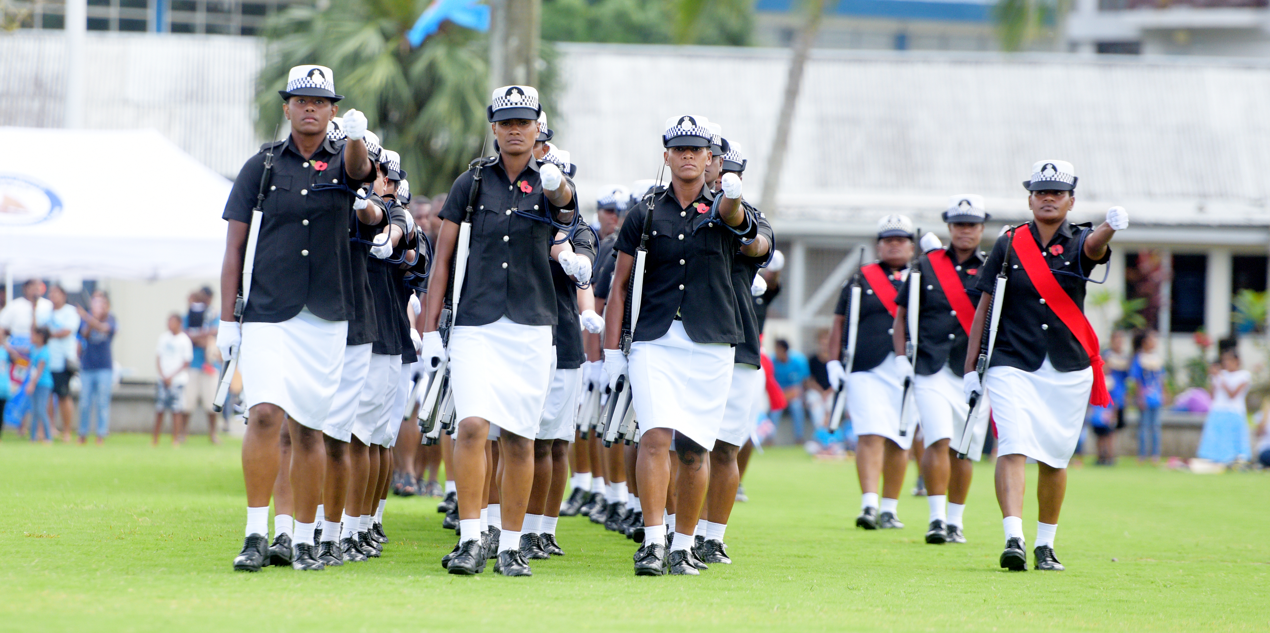 Members of Fiji Police Force during the 50th anniversary of Independence commemorative medal during Fiji Day Parade at Albert Park on October 7, 2020. Photo: Ronald Kumar.