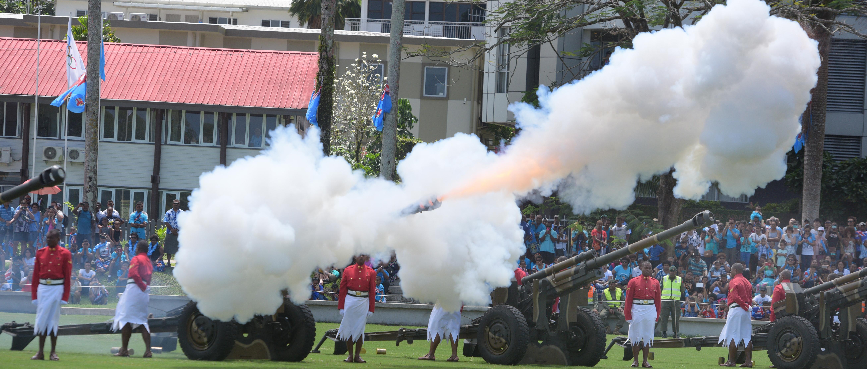 Locals enjoy the 21 gun salute during The 50th Independence commemorative Fiji Day Parade at Albert Park on October 7, 2020. Photo: Ronald Kumar.