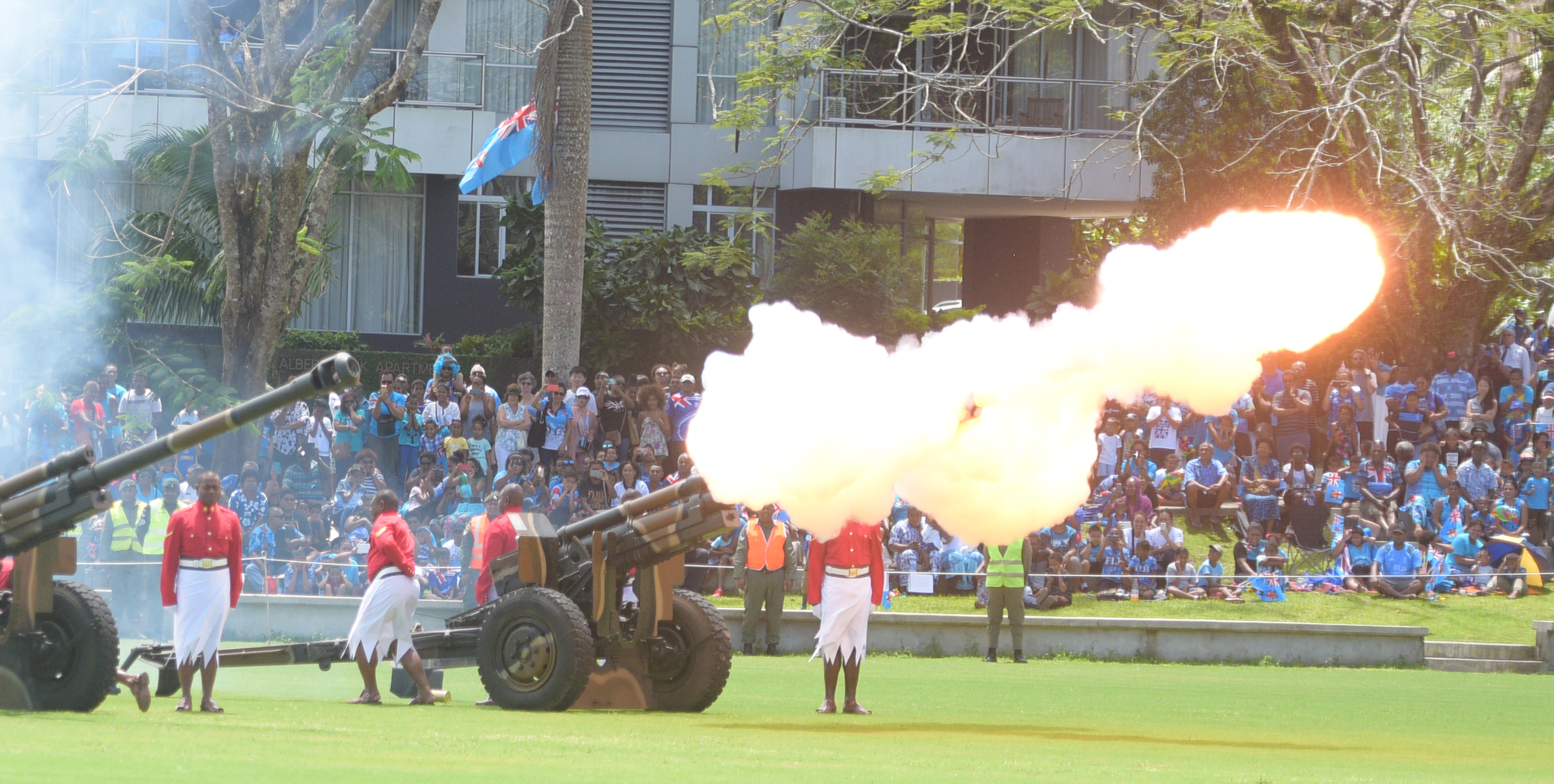 RFMF personnel accorded 21 gun salutes during The 50th Independence commemorative Fiji Day Parade at Albert Park on October 7, 2020. Photo: Ronald Kumar.