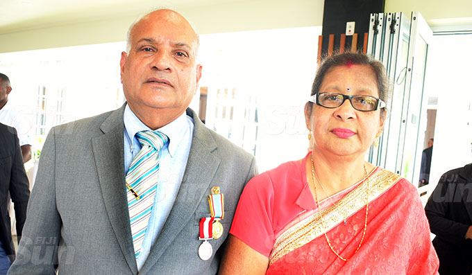 Ishwari Prasad (left) with wife, Bodh Mati Prasad after receiving 50th anniversary of Independence commemorative medal during special investiture ceremony at State House on October 7, 2020. Photo: Ronald Kumar.