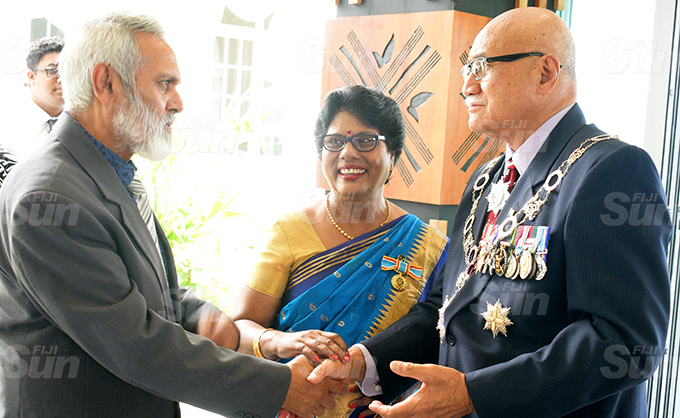 Kamlesh Arya (left) and Urmila Devi Arya with President Jioji Konrote after the 50th anniversary of Independence commemorative medal presentation at State House on October 7, 2020. Photo: Ronald Kumar.