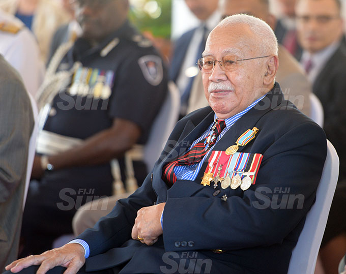 Sir James Ah Koy after receiving  50th anniversary of Independence commemorative medal during special investiture ceremony at State House on October 7, 2020. Photo: Ronald Kumar.