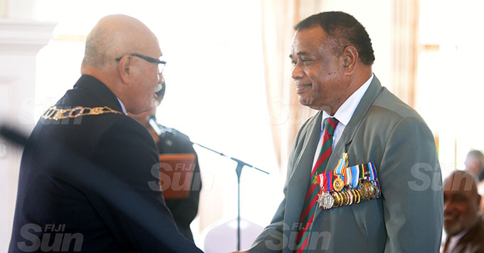 Timoci Natuva received the 50th anniversary of Independence commemorative medal from President Jioji  Konrote during special investiture ceremony at State House on October 7, 2020. Photo: Ronald Kumar.