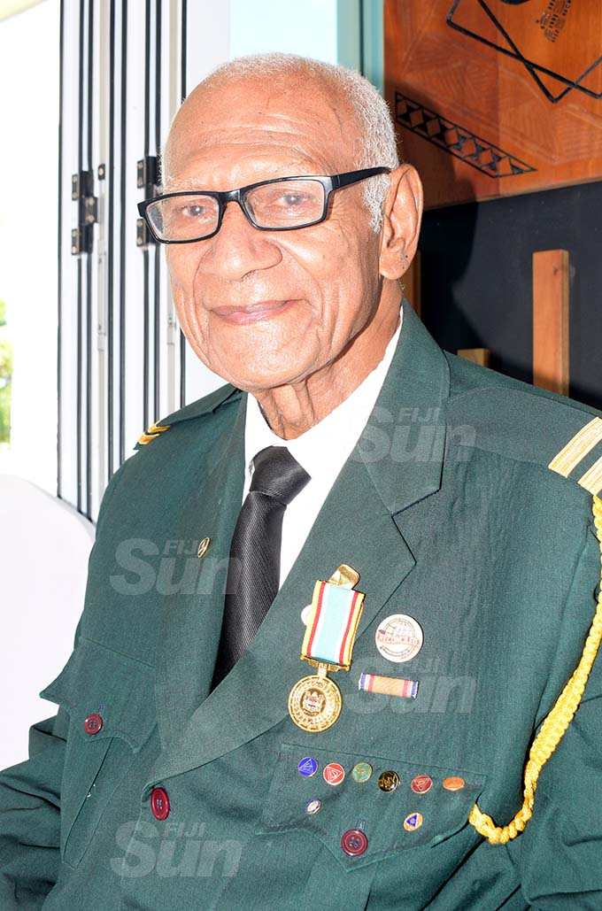 Jioji Mocevakaca 83, after receiving 50th anniversary of Independence commemorative medal during special investiture ceremony by President Jioji Konrote at State House on October 6, 2020. Photo: Ronald Kumar.