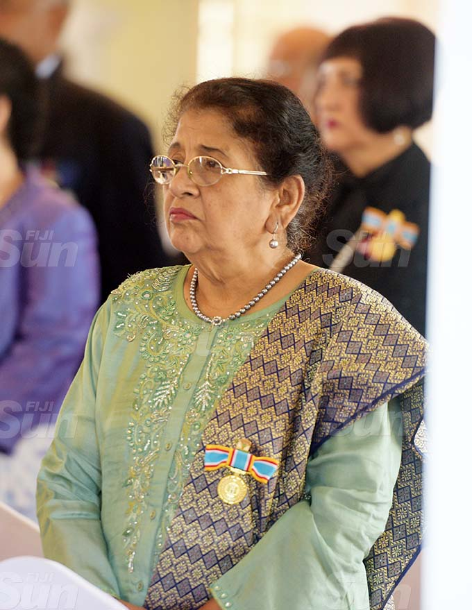 Noor Jahan after receiving 50th anniversary of Independence commemorative medal during special investiture ceremony by President Jioji Konrote at State House on October 6, 2020. Photo: Ronald Kumar.