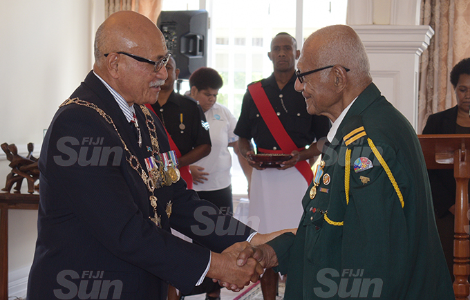 Joji Mocevakaca received 50th anniversary of Independence commemorative medal during special investiture ceremony from President Jioji Konrote at State House on October 6, 2020. Photo: Ronald Kumar.