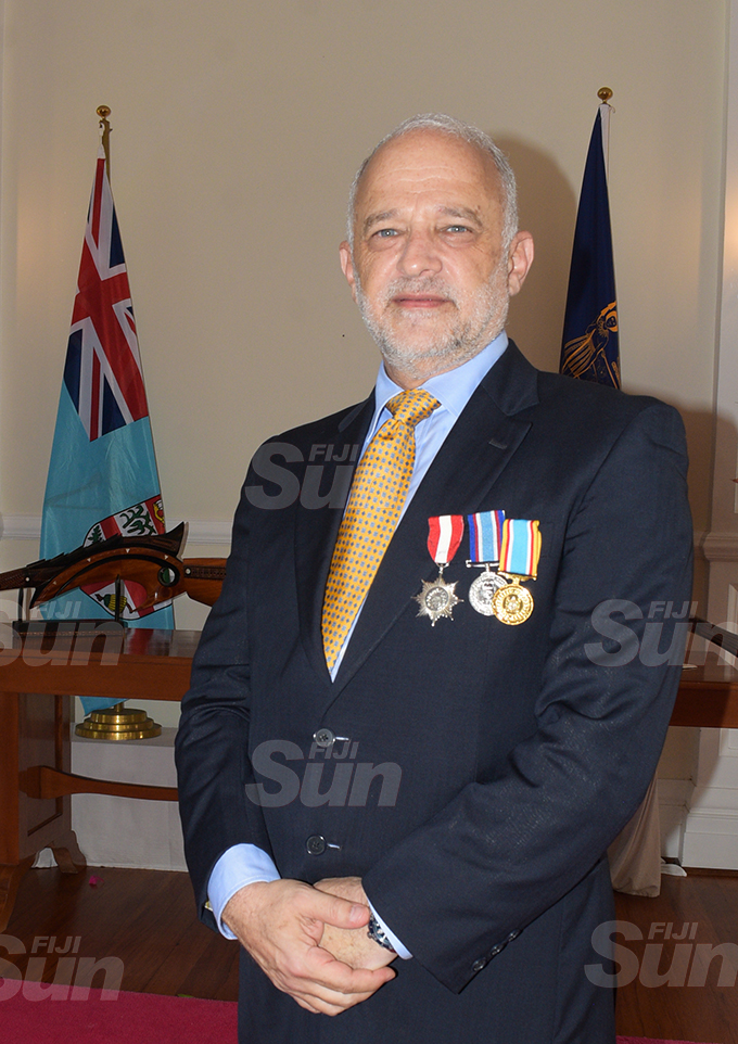 Mark Halabe after receiving 50th anniversary of Independence commemorative medal during special investiture ceremony by President Jioji Konrote at State House on October 6, 2020. Photo: Ronald Kumar.