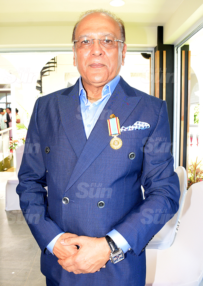 Hasmukh Patel after receiving 50th anniversary of Independence commemorative medal during special investiture ceremony by President Jioji Konrote at State House on October 6, 2020. Photo: Ronald Kumar.