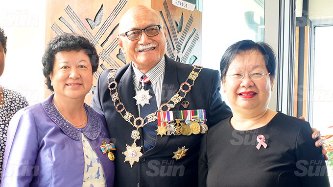 Jenny Seeto (left) with President Jioji Konrote and Loraine Seeto after receiving her 50th anniversary of Independence commemorative medal during special investiture ceremony at State House on October 6, 2020. Photo: Ronald Kumar.