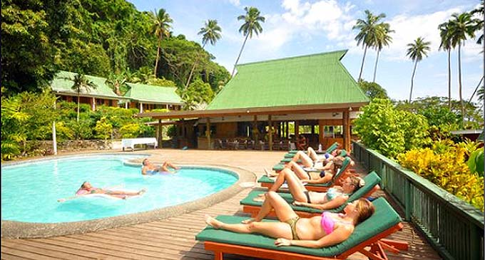 Guests enjoying the sun Daku Resort, Savusavu
