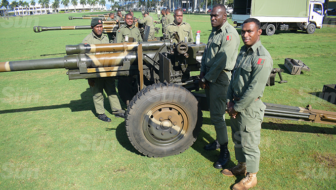 RFMF personnel prepare the cannons for significant 21 gun salute for Fiji 50th Independence Day parade on October 10 at Albert Park in Suva on October 7, 2020. Photo: Ronald Kumar.