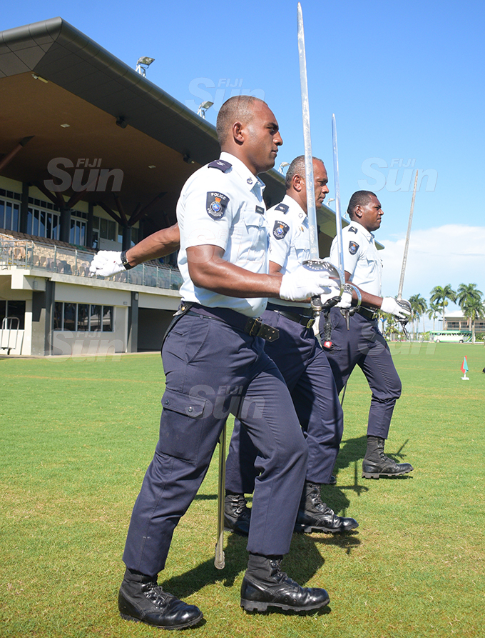 Police personnel during Fiji 50th Independence Day parade rehearsal at Albert Park in Suva on October 7, 2020. Photo: Ronald Kumar.