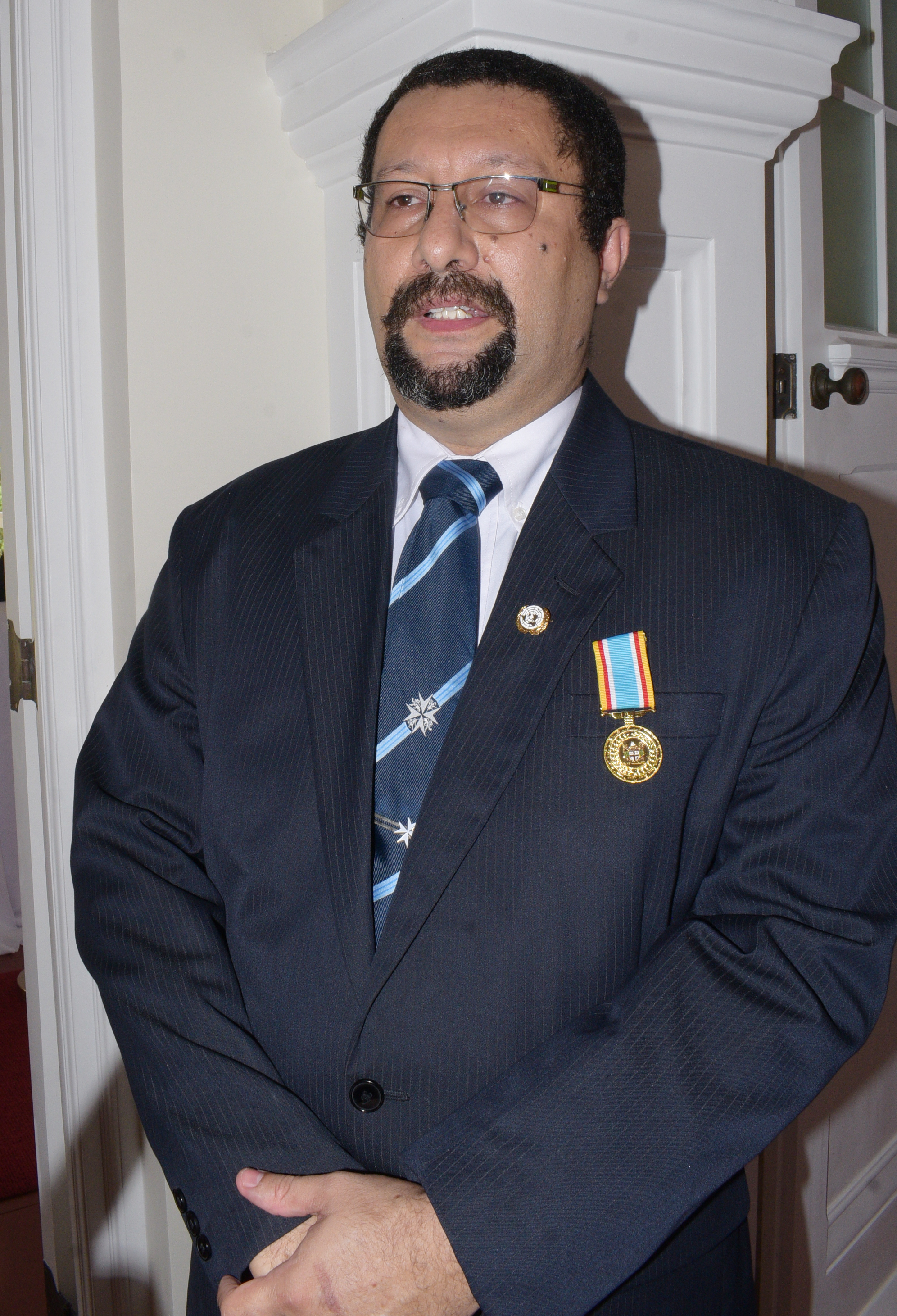 Anthony Blake after receiving  50th anniversary of Independence commemorative medal during special investiture ceremony at State House on October 8, 2020. Photo: Ronald Kumar.
