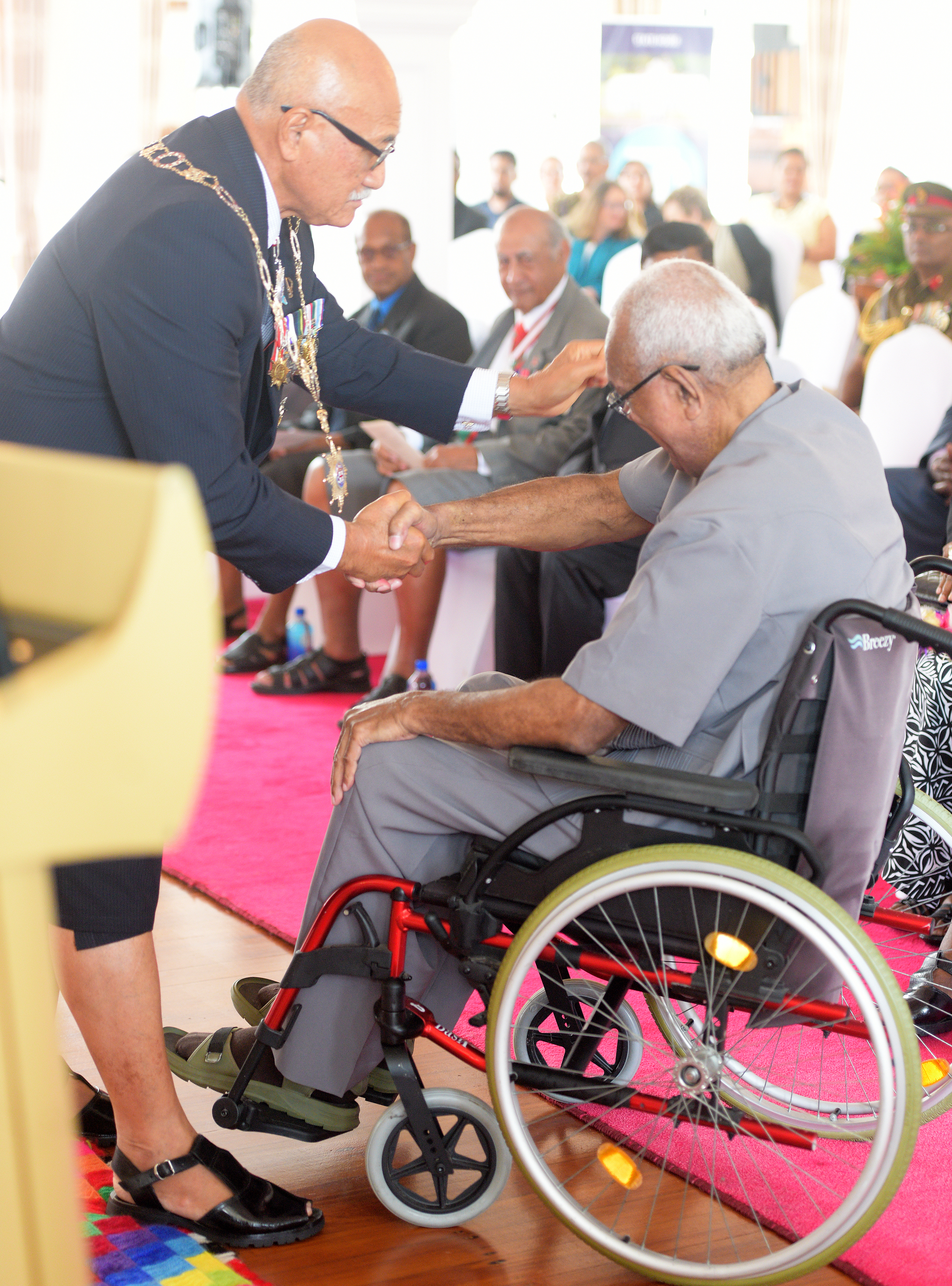 President Awards Lt. Col. Jimi Koroi with 50th anniversary of Independence commemorative medal during special investiture ceremony at State House on October 8, 2020. Photo: Ronald Kumar.