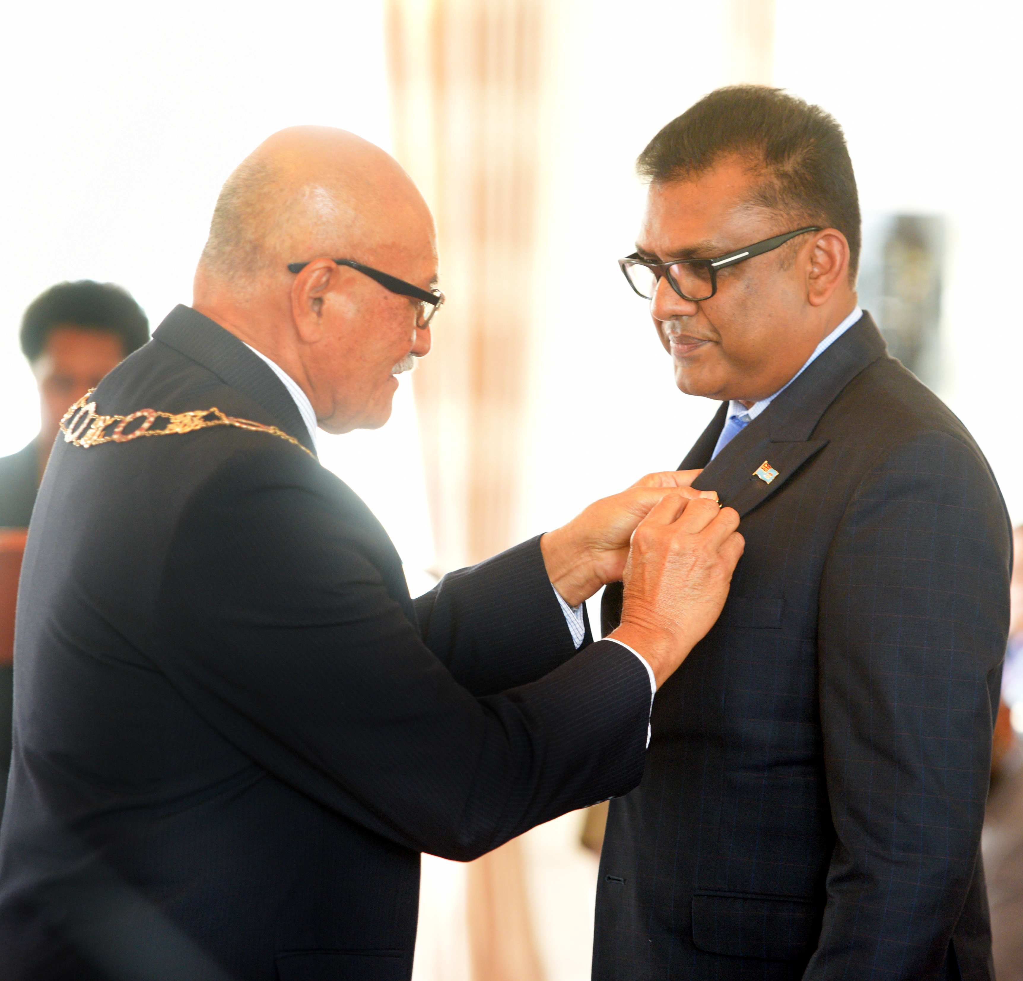 President Awards Yogesh Karan with 50th anniversary of Independence commemorative medal during special investiture ceremony at State House on October 8, 2020. Photo: Ronald Kumar.