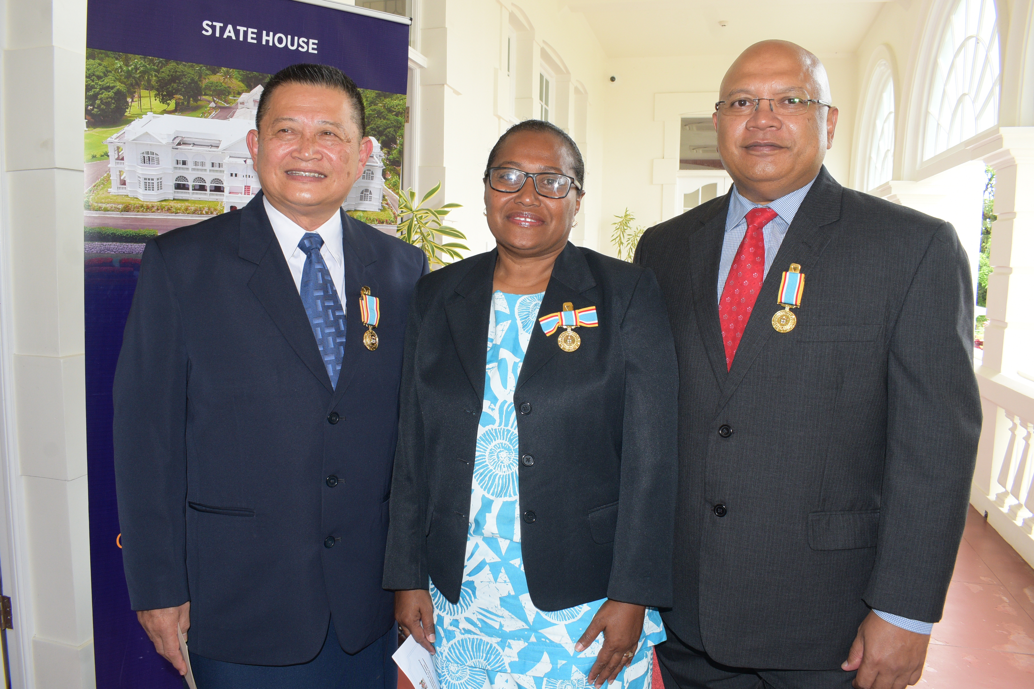 From left-Christopher Yee, Della Shaw-Elder and Sekeli Tuinamuana after receiving 50th anniversary of Independence commemorative medal during special investiture ceremony at State House on October 8, 2020. Photo: Ronald Kumar.