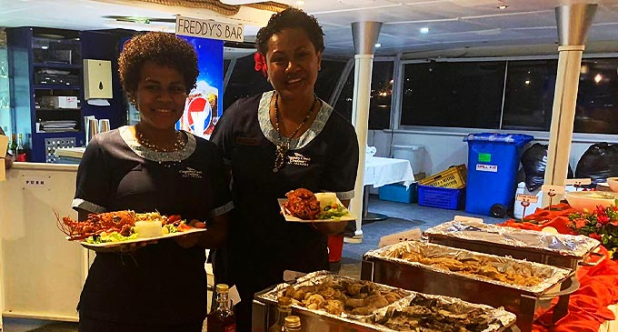 Captain Cook Cruises Fiji, Captain Matron Dining Laisa Dakuitoga and Adi Vasenai on board the Fiji One catamaran on October 25, 2020. Photo: Maraia Vula