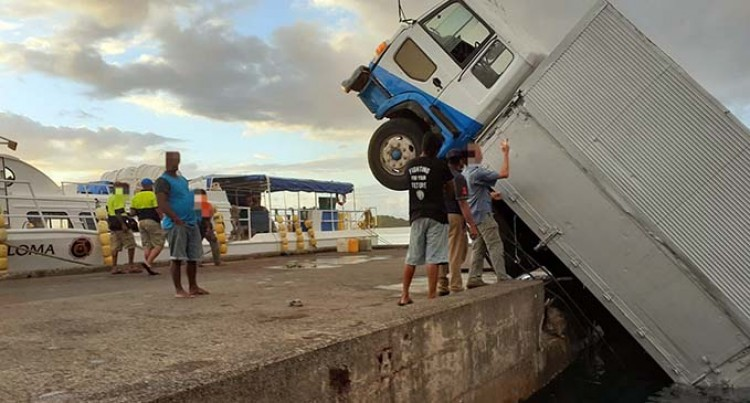 Cargo Truck Slips Into Water At Jetty In Taveuni